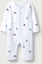 Farm Print Sleepsuit, White, Newborn