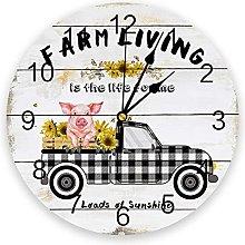 Farm PVC Wall Clock, Silent Non-Ticking Battery