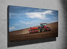 Farmer in Tractor Photo Canvas Print (47193817)