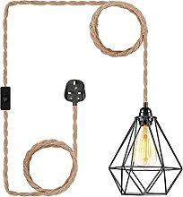 Farmhouse Black Plug in Pendant Light - Industrial