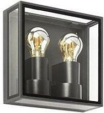 Faro Pomo - Outdoor Box Wall Lamp Dark Grey 2x E27