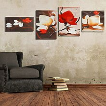 Fashion 4 Pcs Abstract Flower Wall Art Oil