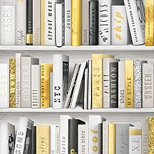 Fashion Library Bookcase Wallpaper - Gold - 139503