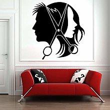 Fashion Man Woman Wall Sticker Hairdresser Hair