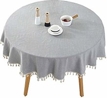 Fashion Solid Color Linen Round Tablecloth Indoor