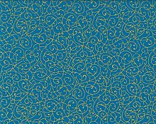 Fat Quarter Turquoise and Gold 100% Cotton Fabric