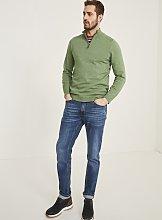 FATFACE Green Seaford Cotton Half Neck Jumper -