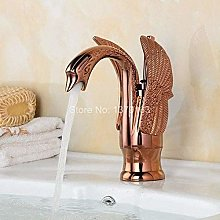Faucet Rose Gold Golden Plated Swan Bathroom