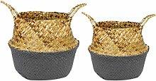 Fauge 2 Pcs Rattan Straw Basket Garden Foldable