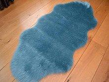 Faux Fur Duck Egg Sheepskin Style Rug (70cm x