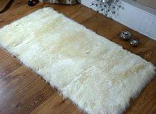 Faux Fur Sheepskin Rug, Washable 70 x 140 cm, Cream