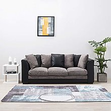 Faux Leather and Fabric 3 Seater Sofa Corner Couch