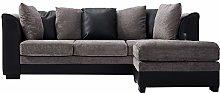 Faux Leather and Fabric 3 Seater Sofa Corner Sofa