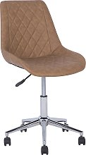Faux Leather Armless Desk Chair Golden Brown