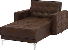 Faux Leather Chaise Lounge Brown ABERDEEN