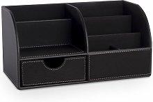 Faux Leather Desk Organiser Black Black - Pukkr