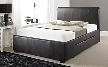 Faux Leather Drawer Bed Frame, Double, Faux