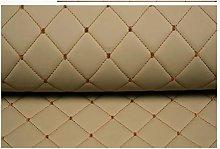 Faux Leather Fabric Beige Leather Diamond Stitch