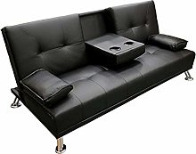 Faux Leather Folding Sofa Bed With Cup Holders