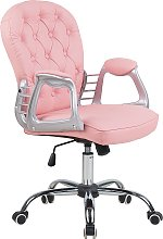 Faux Leather Office Chair Pink Swivel Adjustable