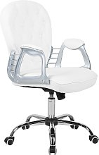 Faux Leather Office Chair White Swivel Adjustable