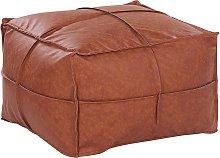 Faux Leather Pouffe 73 x 73 cm Brown BORI