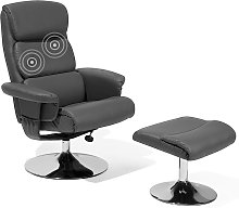 Faux Leather Recliner Chair with Footstool Grey