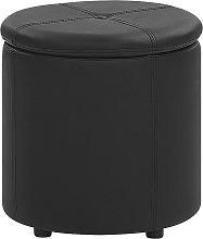 Faux Leather Storage Pouffe Black MARYLAND