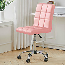 Faux Leather Swivel Computer Desk Chair Armless