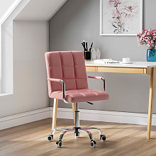 Faux Leather Swivel Home Office Computer Desk