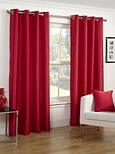Faux Silk Slubbed Red Eyelet Fully Lined Readymade