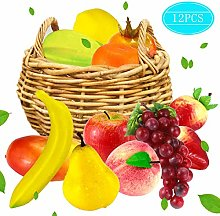 Faxco 12 PCS Artificial Fruit, Fake Fruit Set,