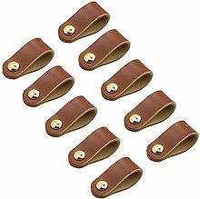 FBSHOP(TM) 10pcs Brown Leather Cabinet Handles
