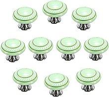 FBSHOP(TM) 10pcs Green Retro Style Round Ceramic
