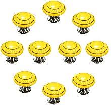 FBSHOP(TM) 10pcs Yellow Retro Style Round Ceramic
