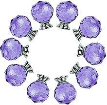 FBSHOP(TM) 40MM 10PCS Purple Crystal Glass Knob