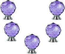 FBSHOP(TM) 40MM 5PCS Purple Round Crystal Cabinet