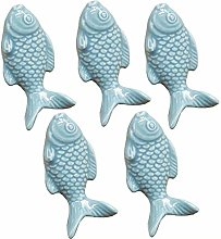FBSHOP(TM) 5PCS Vintage Ceramic Door Knob Fish