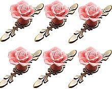 FBSHOP(TM) 6PCS Vintage Floral Rose Shape Ceramic