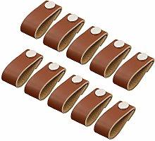 FBSHOP(TM) Set of 10 Leather Cabinet Handles Knobs