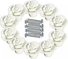 FBSHOP(TM) White 10 PCS 40mm DIY Vintage Rose
