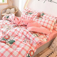 FBYYJK Small Fresh Duvet Cover - Pink Plaid Quilt