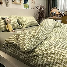 FBYYJK Small Fresh Duvet Cover - Simple Green Grid