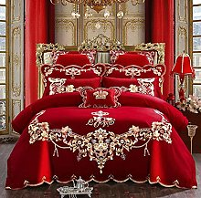 FBYYJK Wedding Duvet Cover - 4Pcs Red Cotton