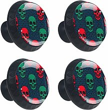 FCZ 4 Pieces Boho Punk Red And Green Skull Head