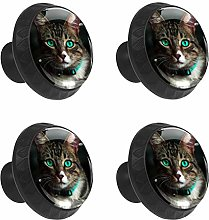 FCZ 4 Pieces Cat With Emerald Eyes Drawer Knobs