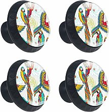 FCZ 4 Pieces Colorful Parrots Birds Drawer Knobs