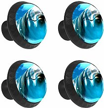 FCZ 4 Pieces Cute Blue Dolphin Drawer Knobs Pull