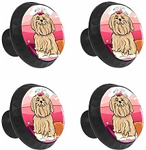 FCZ 4 Pieces Cute Maltese Dog Drawer Knobs Pull