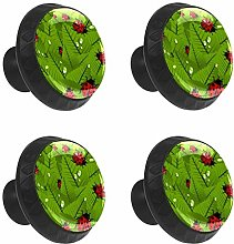 FCZ 4 Pieces Ladybugs Green Leaves Drawer Knobs